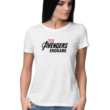 Marvel Avengers Endgame: Womens Premium half sleeve T Shirt Black textured - leavf