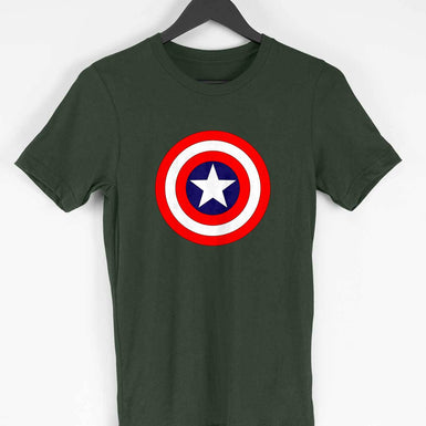 Marvel Avengers Men's T Shirt: Captain America Shield Custom Printed T Shirt - leavf