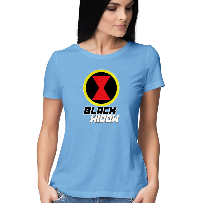 Black Widow Logo Marvel Avengers T Shirts for Women - leavf
