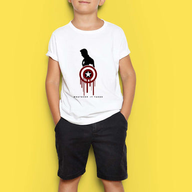 Marvel Avengers Boys T Shirts: Captain America with Shield Whatever it takes custom printed - leavf