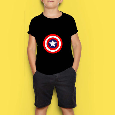 Boys Black T Shirt with Marvel Avengers Shield with Star printed - leavf
