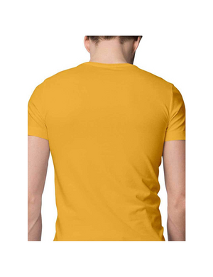 Mens Round Neck Half Sleeve Plain Golden Yellow Color T-shirt - leavf