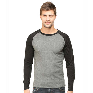 Men Raglan T Shirt Round Neck Full Sleeve Black Charcoal Melange - leavf