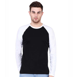 Men Raglan T Shirt Round Neck Full Sleeve White and Black Color - leavf