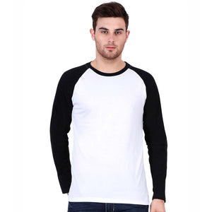 Men Raglan T Shirt Round Neck Full Sleeve Black and White Color - leavf