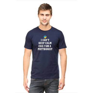 I CAN'T KEEP CALM COZ I AM A PYTHONIST MENS T SHIRT - leavf