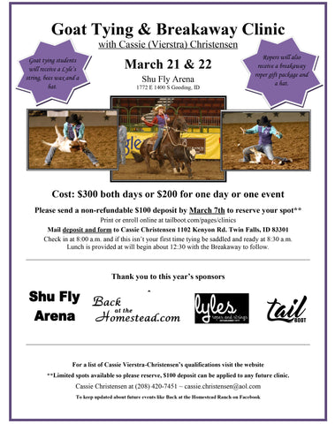 March 21 & 22 - Shu Fly Arena Gooding, ID
