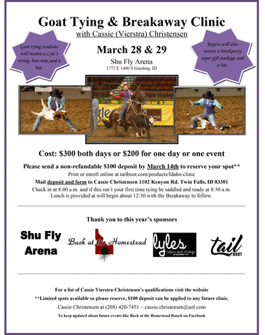 March 21/22 & 28/29 Shu Fly Arena Gooding, ID