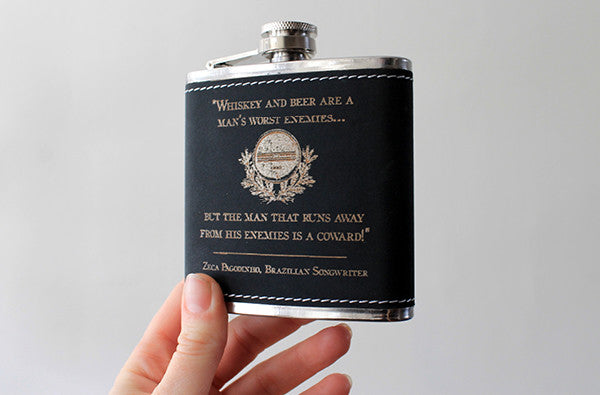 Laser etched flask | WHISKEY quote design