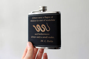 Laser etched flask | W.C. FIELDS Whiskey quote