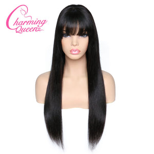 Human Hair Lace Wigs Sapphire Glueless Fringe Front Human Hair Wigs For Women Black With Bang Brazilian Ocean Wave Lace Wig With Baby Hair Remy Wig Lace Wigs