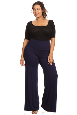 Shore Trendz Plus Size Women's Palazzo Pants High Waisted Made in the USA