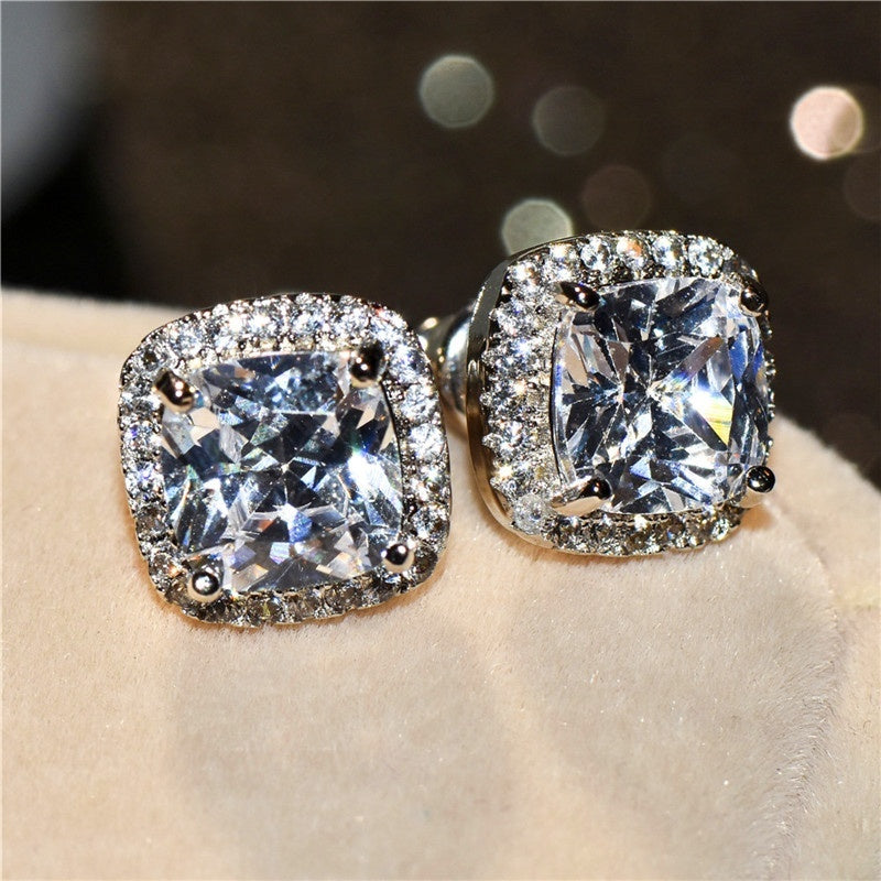 Manure Square Cut White CZ Diamond Stud Earrings Princess 925 Sterling Silver Earrings 1 Pair