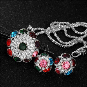 18K Gold Filled Rhinestones Crystals Flower Pendant Necklace Earrings Jewelry Set