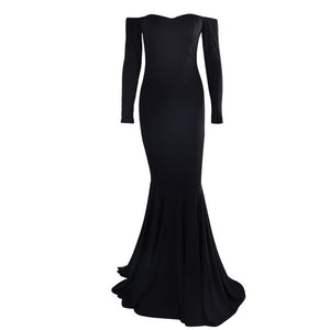 Plain Black Off Shoulder Gown