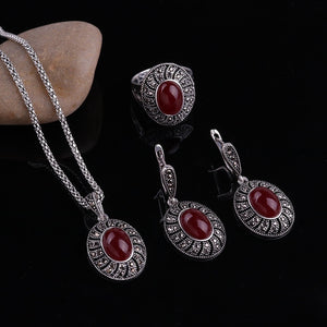 Newest Fashion Casual Crystal Gemstone Necklace Earrings Ring Retro Party Wedding Women Engagement Prom Jewelry Set