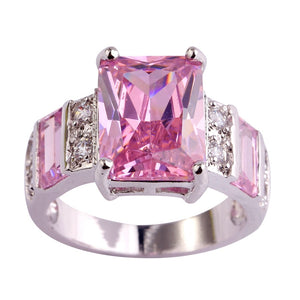 Wedding Band Emerald Cut Pink White Topaz Gemstone Fashion Jewelry Women Silver Ring Size 6 7 8 9 10 11 12 13