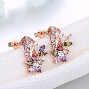 White Crystal Zircon Stud Earrings for Women Fashion Gold Color Flower Earing Wedding Jewelry