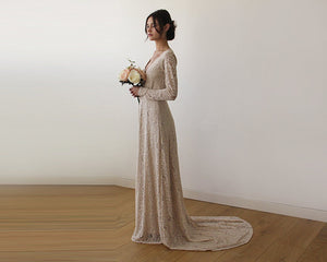 Champagne Wrap Floral Lace Long Sleeve Gown with a Train 1151