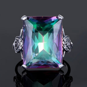 Women's Fashion Jewelry 925 Sterling Silver Ring Princess Cut 4.36CT Mystic Rainbow Topaz Diamond Vintage Proposal Gift Rings Br