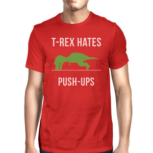 T-Rex Push Ups Mens Funny Workout Shirts Lightweight Cotton T-Shirt