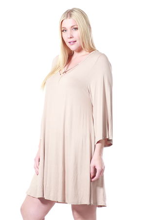Women's Plus Size Drawstring Half Sleeve Blouse Dress Made in USA 1X 2X 3X