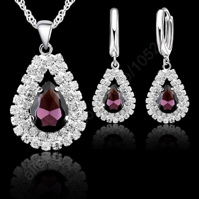 Stock 925 Sterling Silver Purple Crystal Pendant Necklace Hoop Earring Set Ear Leverback Necklace 18