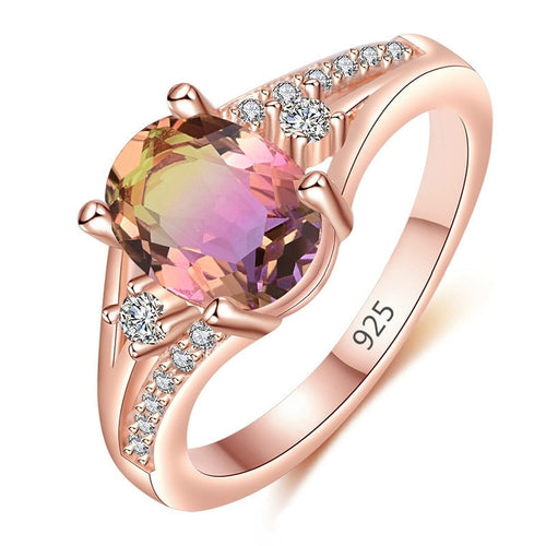 18 K Rose Gold Filled with Natural Stones Bridal Wedding Engagement Ring Personality Charm Jewelry Size 5-11
