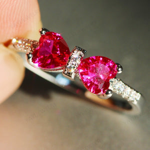925 Silver Bowknot Heart Cut Natural Gemstones Ruby & White Sapphire Ring Birthstone Bride Wedding Engagement Princess Anniversa