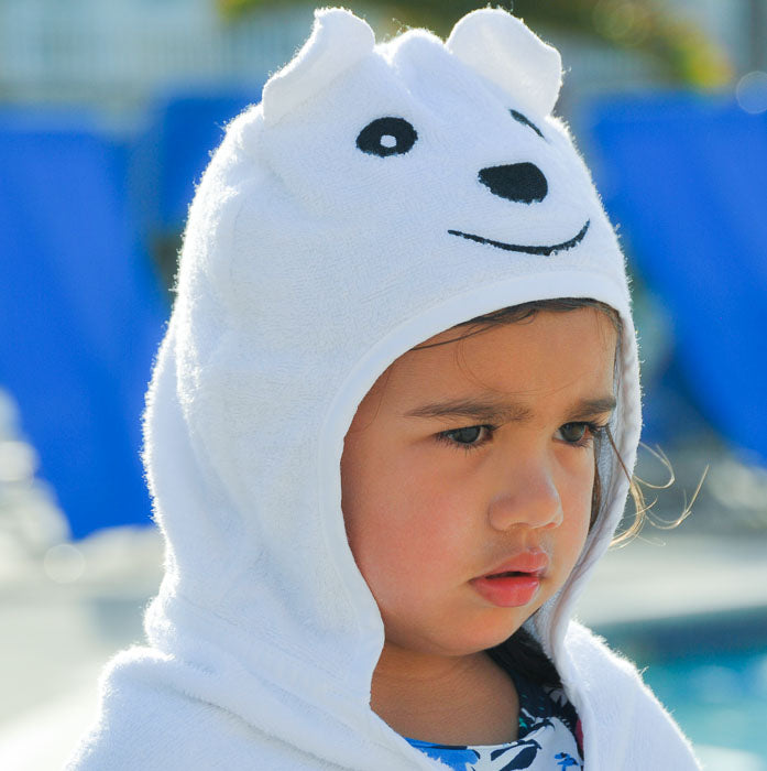 Bamboo rayon Bear Hooded Turkish Towel: Little Kid