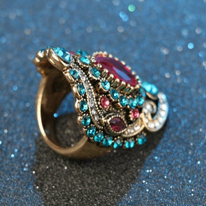 2016 Bohemia Unique Diamond Crystal Ruby Jewelry Craving Nightclub Gemstone Lady's Ring