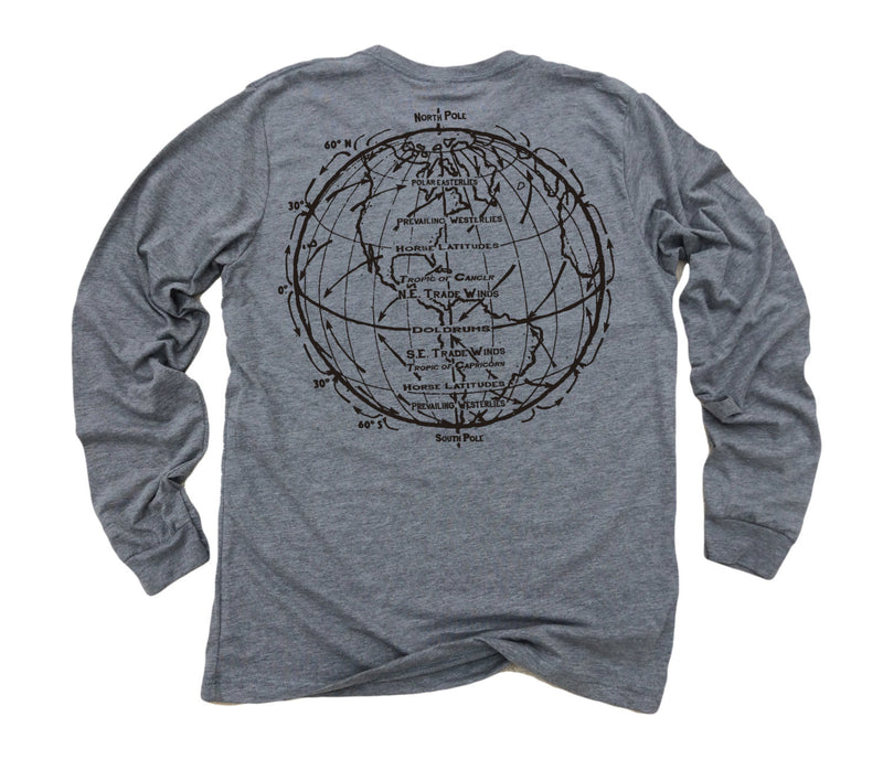 Trade Winds ll: Tri-Blend Long Sleeve T-Shirt in Heather Grey