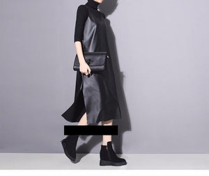 Bakaitis Vegan Leather Spaghetti Dress