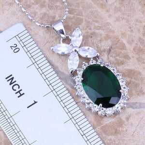 Fashion 925 Sterling Silver Natural  Emerald Sapphire Gemstones Wedding Birthstone Bride Necklaces&pendants+Earrings+Ring Jewelr