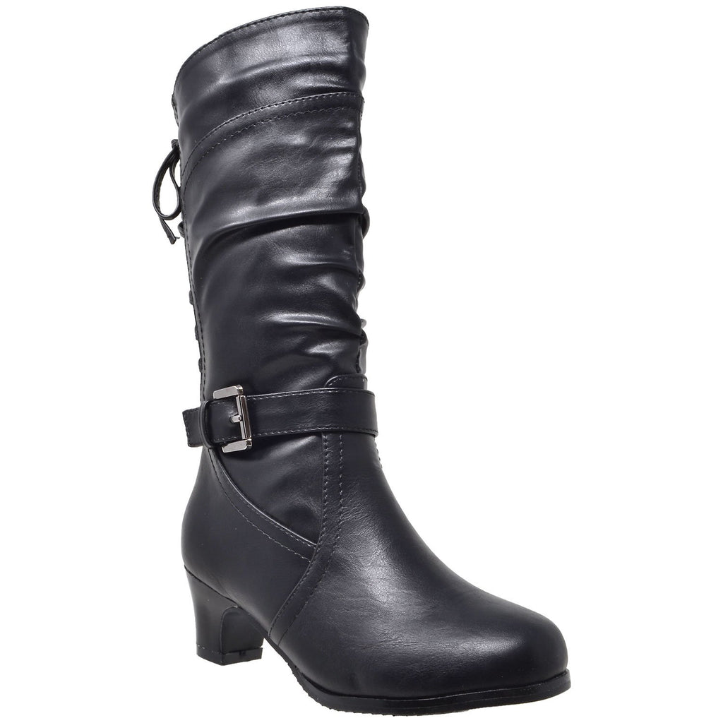 Toddler & Youth Lace Up Heeled Mid Calf Boot