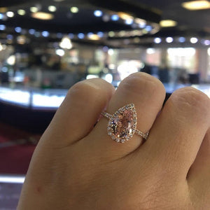 Noble 14K Rose Gold Natural Morganite and Diamond Halo Ring Pear Shape Art Deco Antique Engagement Ring Birthstone Ring Promise
