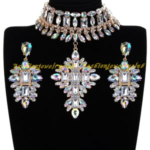 Fashion Jewelry Set AB Rhinestone Choker Statement Bib Necklace Drop Earring Accessories