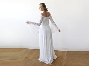 Long Bell Sleeve Lace Wedding Dress, Off-Shoulders Lace Boho Wedding Dress, Bohemian Ivory Wedding Dress, Elopement Lace
