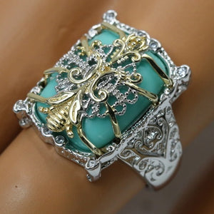 Fashion jewelry 925 Sterling Silver Turquoise Gemstone Women Trendy Style Wedding Accessory Ring Ladies  Rings Size 6 7 8  9 10