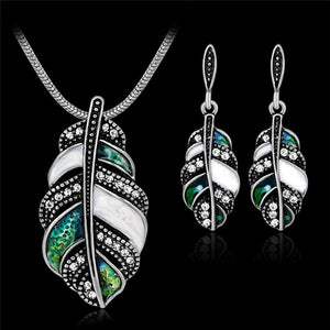 Attrative Jewelry Sets Multicolor Enamel Leaf Statement Necklace and Earring Set Crystal Jewelry
