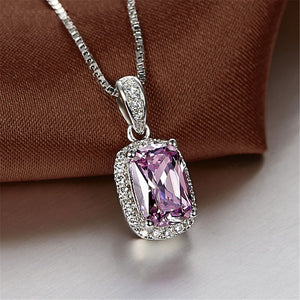 Handmade Fine Jewelry SHIPEI Unique Square Imitation Diamond Pure S925 Silver Necklace FineJewelry for Women