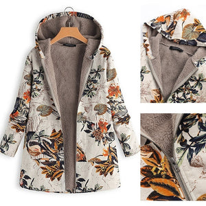 Winter Warm Outwear Floral Print Hooded Pockets Vintage Oversize Coats Winter Jacket Women Outwear for Women Winter