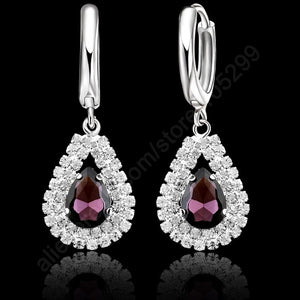 "Stock 925 Sterling Silver Purple Crystal Pendant Necklace Hoop Earring Set Ear Leverback Necklace 18"" Silver Chain For Woman Wed"