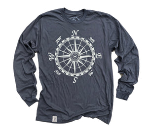 Mariner's Compass: Fine Jersey Long Sleeve T-Shirt in Slate