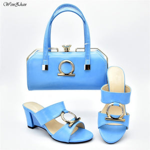 Peep Toe Leather Shoes And Bag Sets