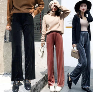 MLCRIYG 2018 Korean Autumn Pleuche Broad leg High waist Easy Straight pants TH-H MAMA