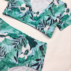 Bikini Floral Print Swimsuit Big Breast Brazilian Bathing suit Maillot