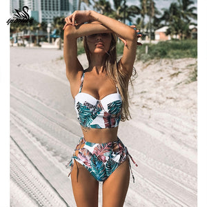 High Waist Swimwear Leaf Print Bikinis Women Vintage Retro Bathing Suit Halter