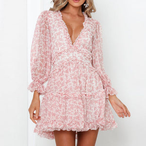 Tosheiny 2019 Women Summer Deep V Long Sleeve Floar Print Dresses Bohemian Backless Dresses Female Elegant Ruffles  Dress DM0201