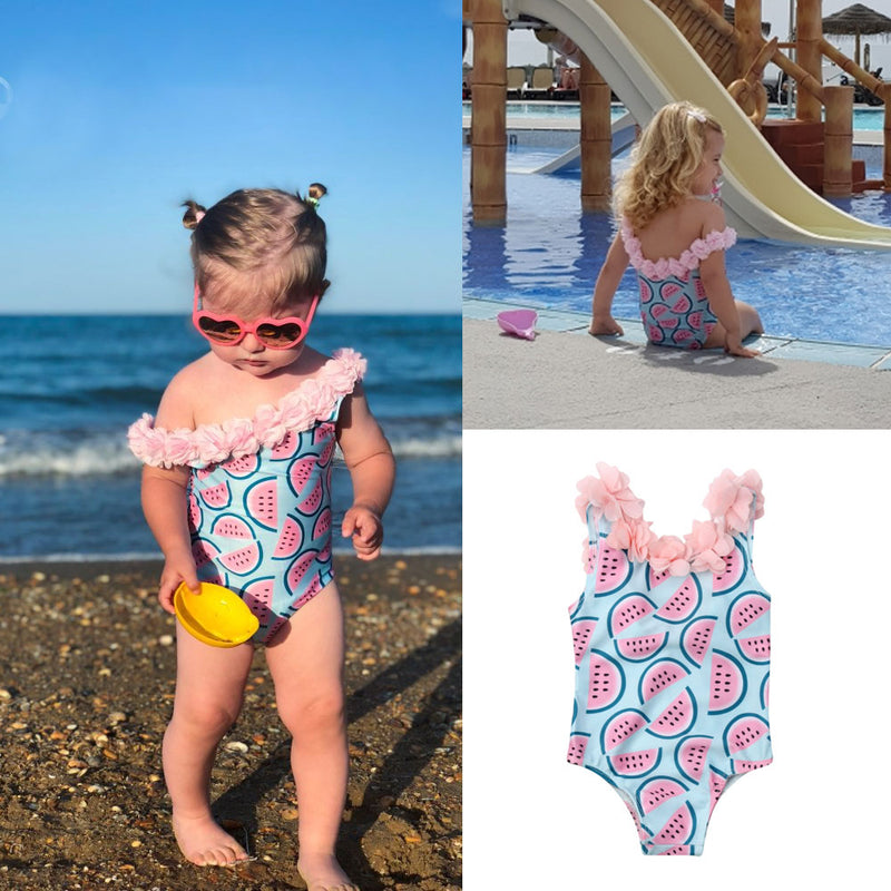 Newborn to Toddler Baby Girl One Piece Bathing Suit Watermelon Print